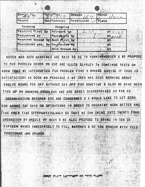 Message received 21 June 1943 at 12:40 pm