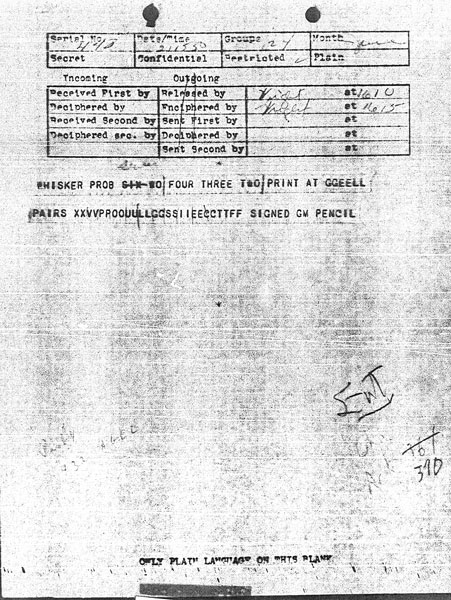 Message received 21 June 1943 at 3:50 pm