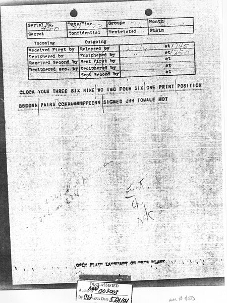 Message received 21 Jun 1943 at 5:52 pm